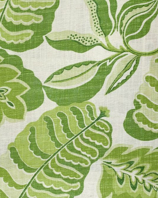 Fitzroy Fabric Large Green Abstract Leaf Design Printed On