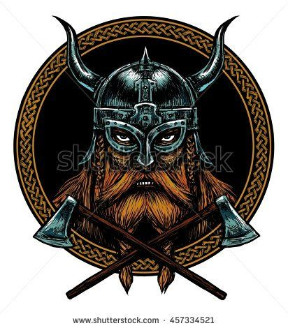 Ancient Viking Head In A Ring With Scandinavian Ornament Logo For Mascot Design Graphic Illustration Th Viking Head Viking Shield Design Viking Helmet Tattoo