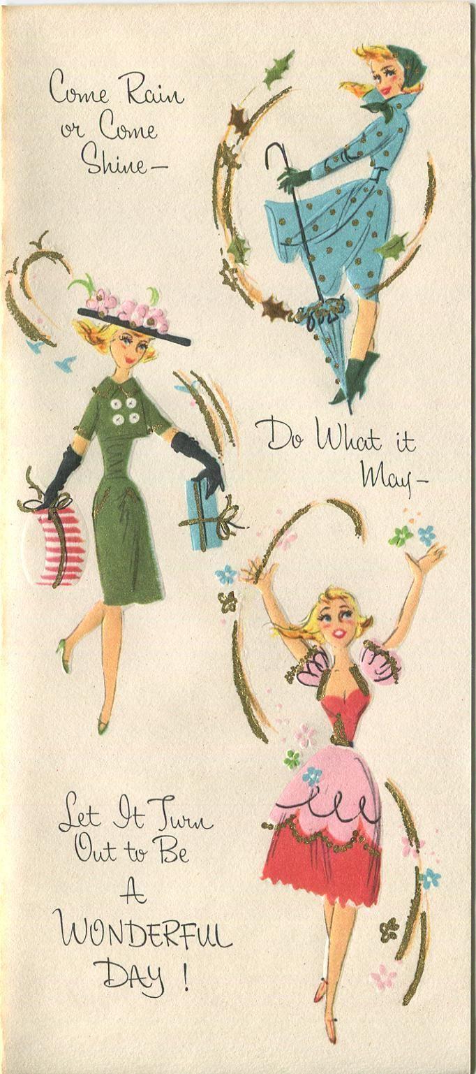 Vintage Blonde Hair Woman Model Rain Coat Umbrella Chic Birthday