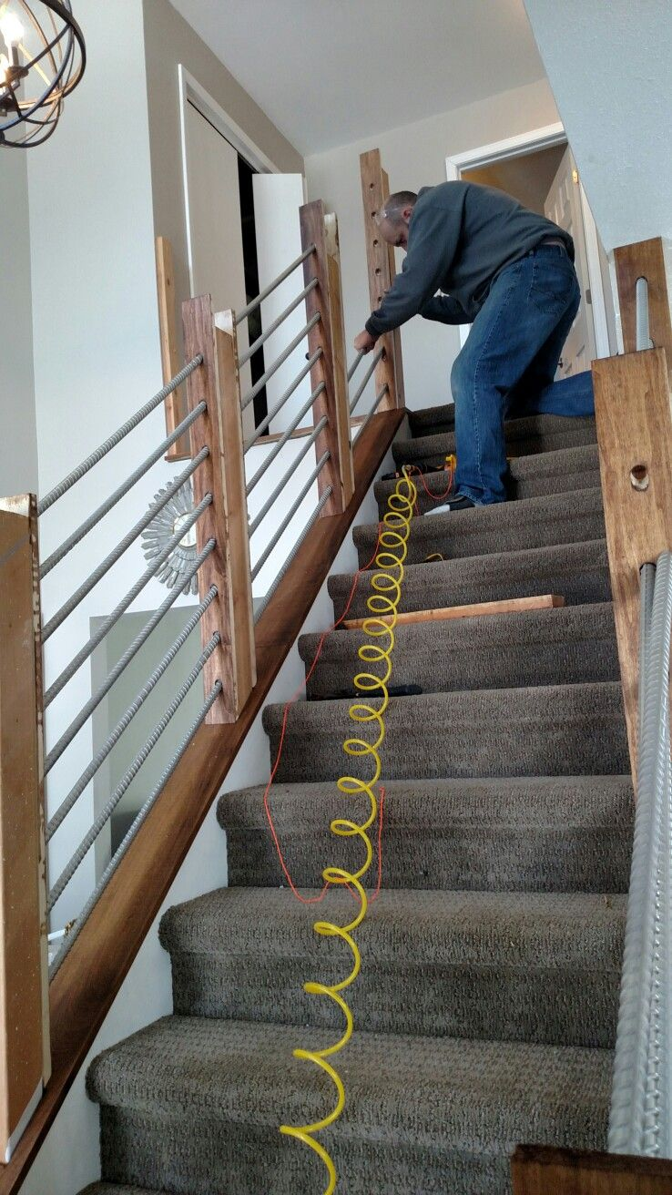 Making Rebar Railings Stairway Railing Ideas Rustic   Indoor Railings For Steps