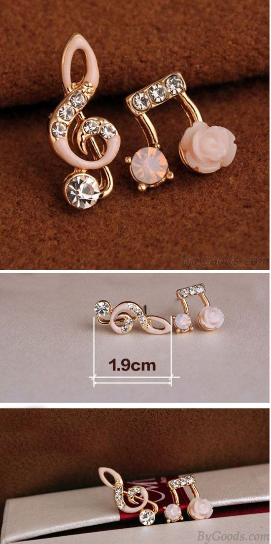 Fashion Unsymmetrical Diamond-bordered Music Notes Solid Flower Shining Women's Earring Studs is so