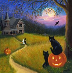 Cats Pumpkins Witch Ghost Haunted House Ravens Moon Halloween Original Painting