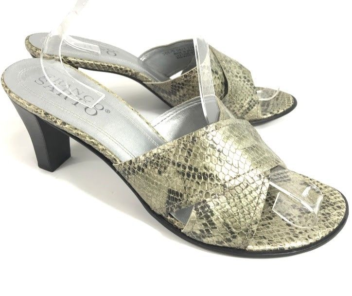 654b6fd82adc9a Franco Sarto Womens Sandals Faux Snakeskin Sz 9.5 Slide Heel Leather Criss  Cross  FrancoSarto  Sandals