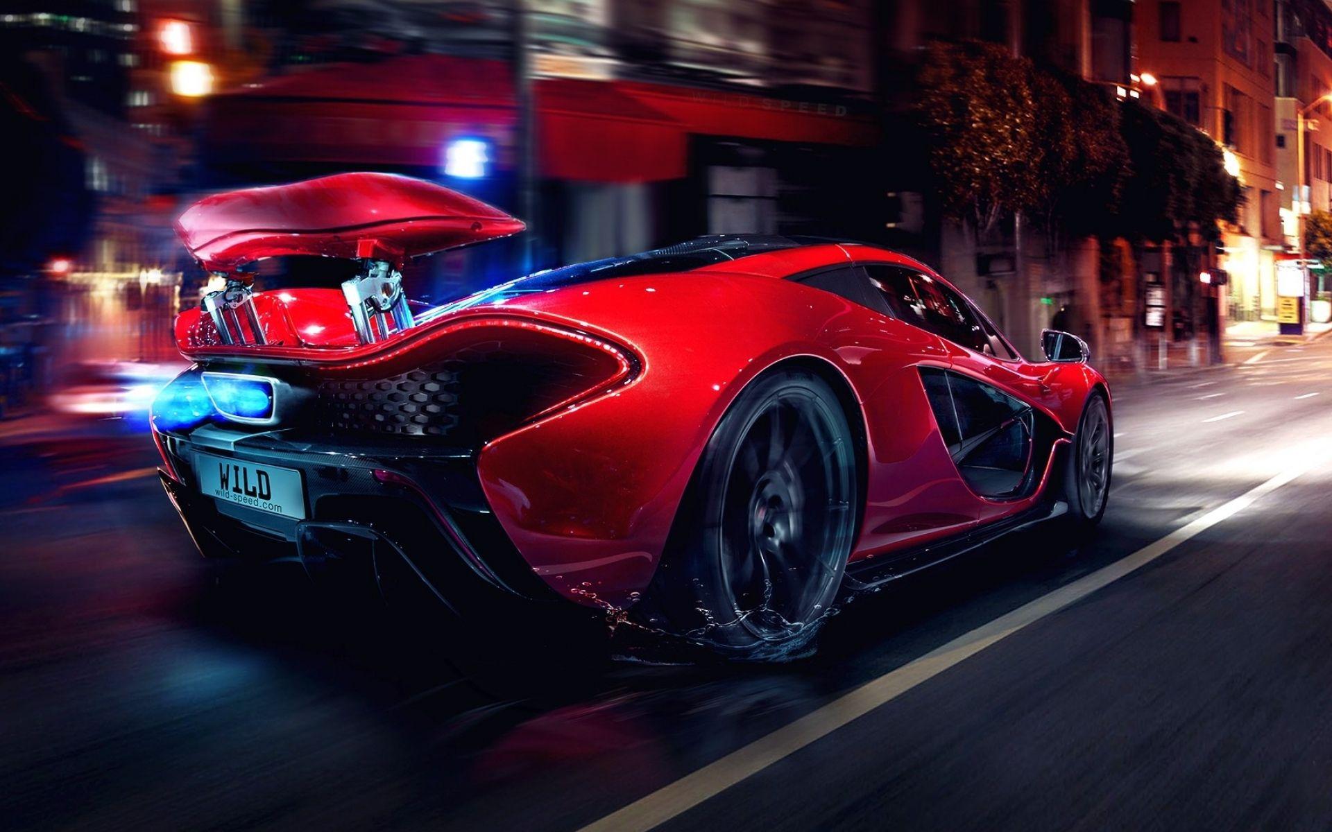 Red McLaren P1 City Night Street Racing Motion Wallpaper