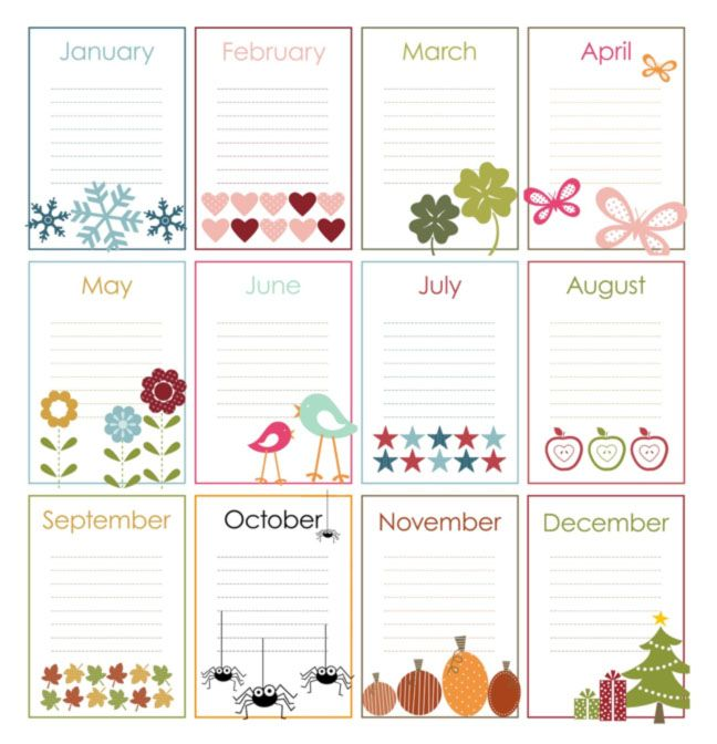Free Printable Perpetual Calendars | The Birthday Display All Came