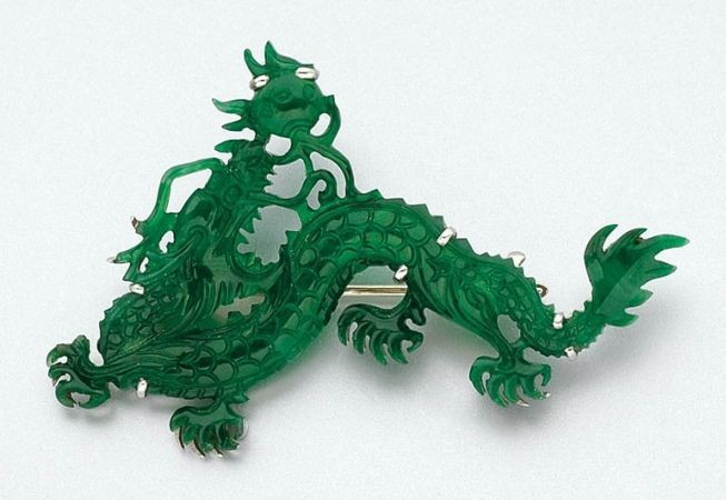 estate jewelry 2 Vintage carved Jade Dragon Brooches Sale lot pins green