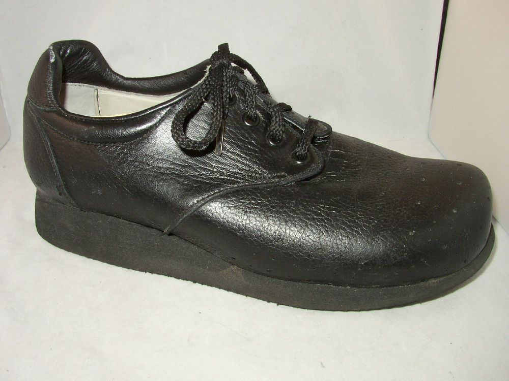 P W Minor Shoes Mens Size 9.5 Black Extra Depth Orthopedic Made in ...