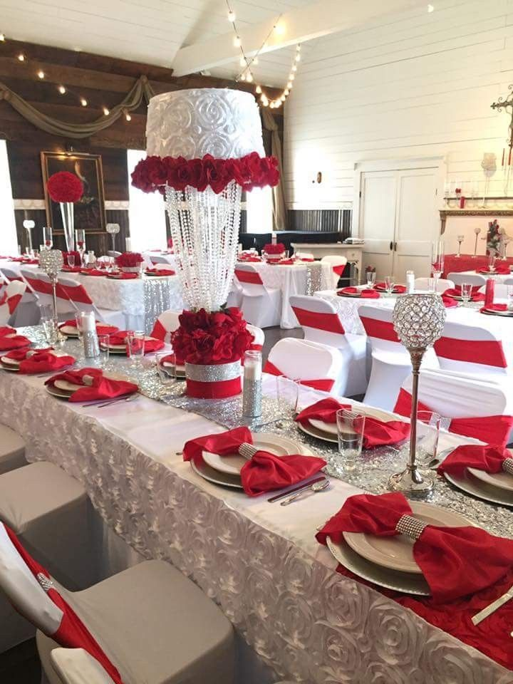 Red White And Bling Wedding Reception Ideas Salvabrani