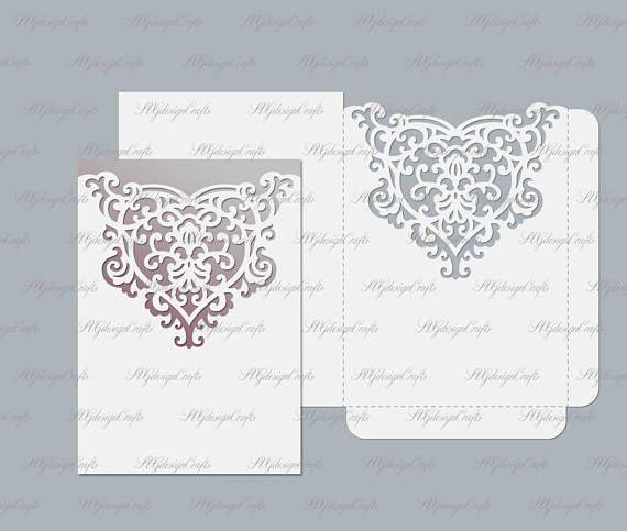 Wedding invitation envelope pocket svg dxf ai cdr eps
