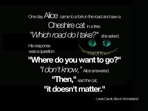 Lewis Carroll, Alice in Wonderland, Cheshire cat, Where do you want to go, it doesn't matter