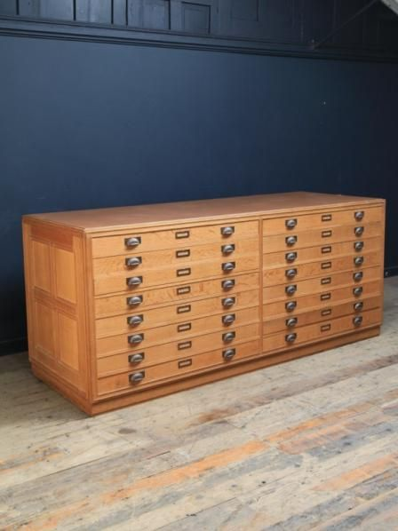 Large Plan Chest. Manufactured for a National Library in oak throughout, including all the internals of the drawers, decorative moulding to all sides, Bronze drawer pulls and card holders.