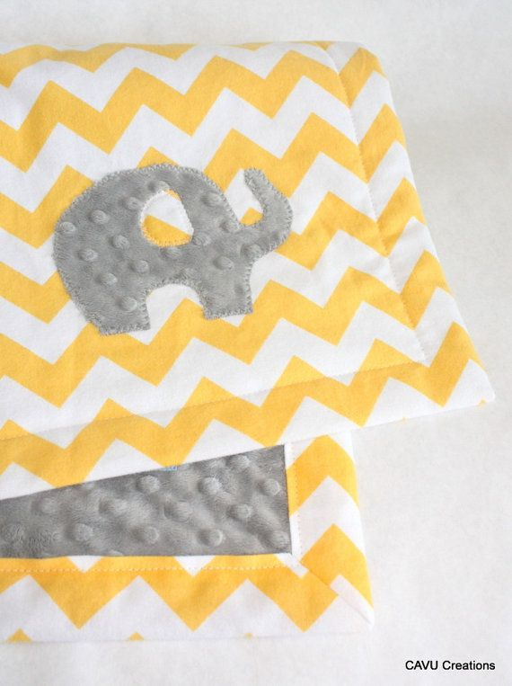 Yellow And Gray Minky Baby Blanket With Elephant Applique