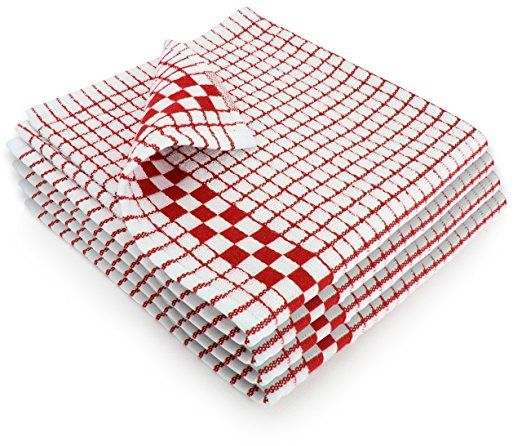 Fecido Classic Kitchen Dish Towels - Set of 4, Red