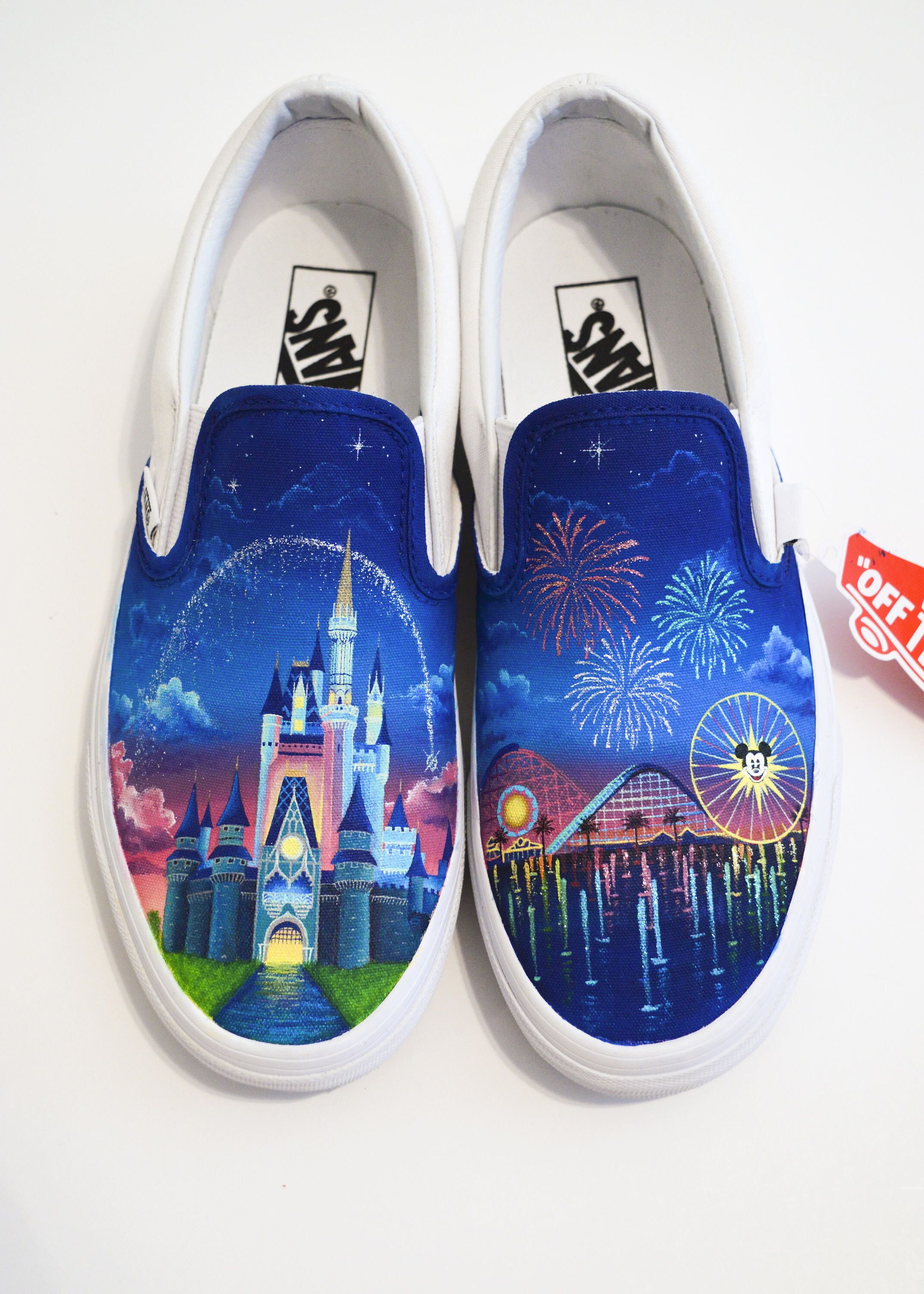 b60271a6af838c Disney Castle and Disneyland Hand Painted Vans - Shanny s Shoes