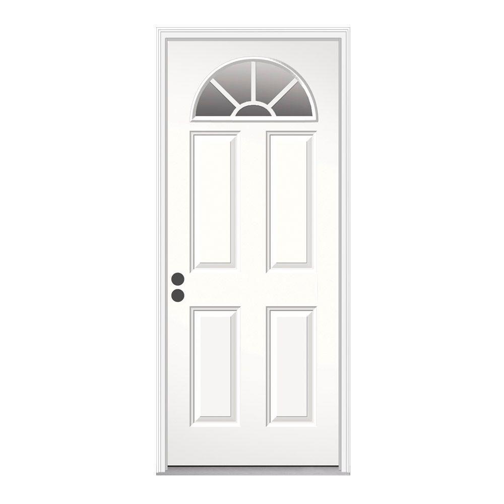 Jeld Wen 32 In X 80 In Fan Lite Primed Steel Prehung Right Hand Inswing Front Door W Brickmould Thdjw184500203 The Home Depot Steel Doors Exterior Exterior Doors Entry Doors