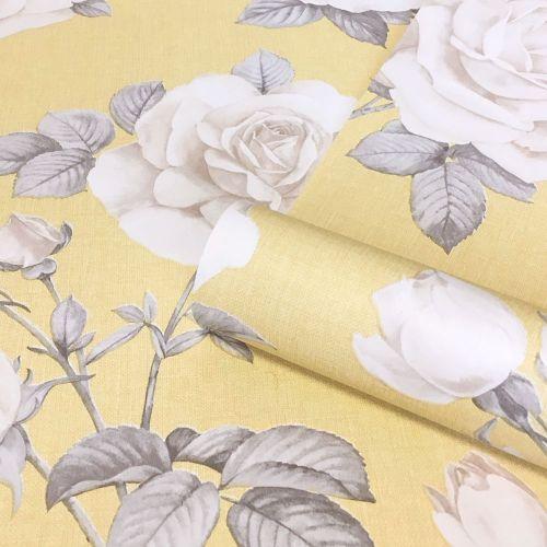 Rosa Vintage Rose WallpaperShabby Chic Yellow Grey Natural PinkBelgravia