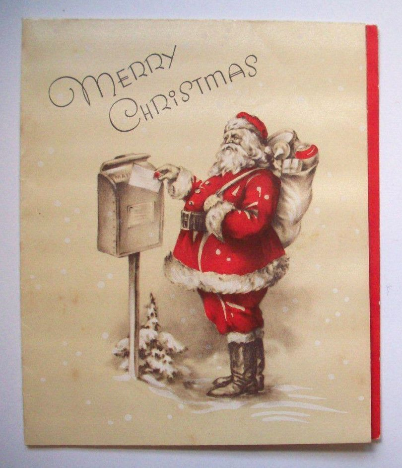 Mail On Christmas Eve 2019.1940 S Santa Delivery Mail Vintage Christmas Greeting Card