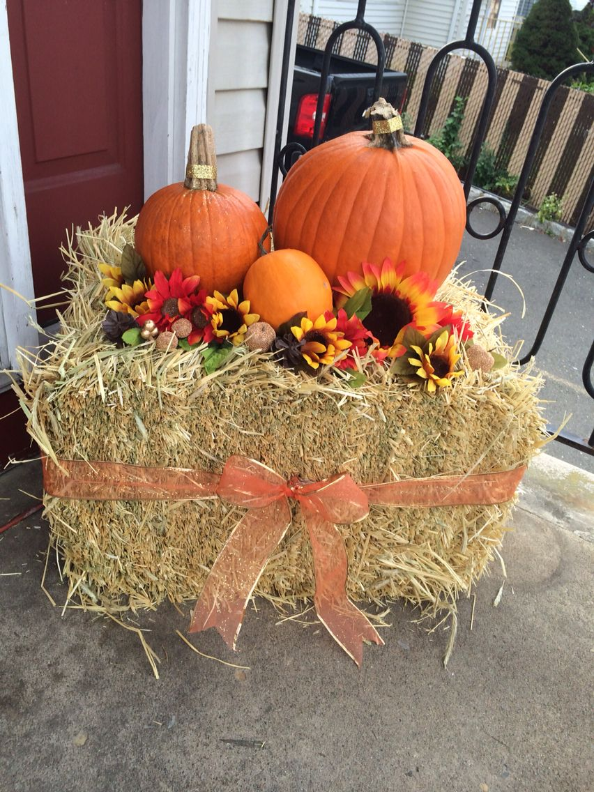 Our Fall Front Porch Decorations Haystack Pumpkins