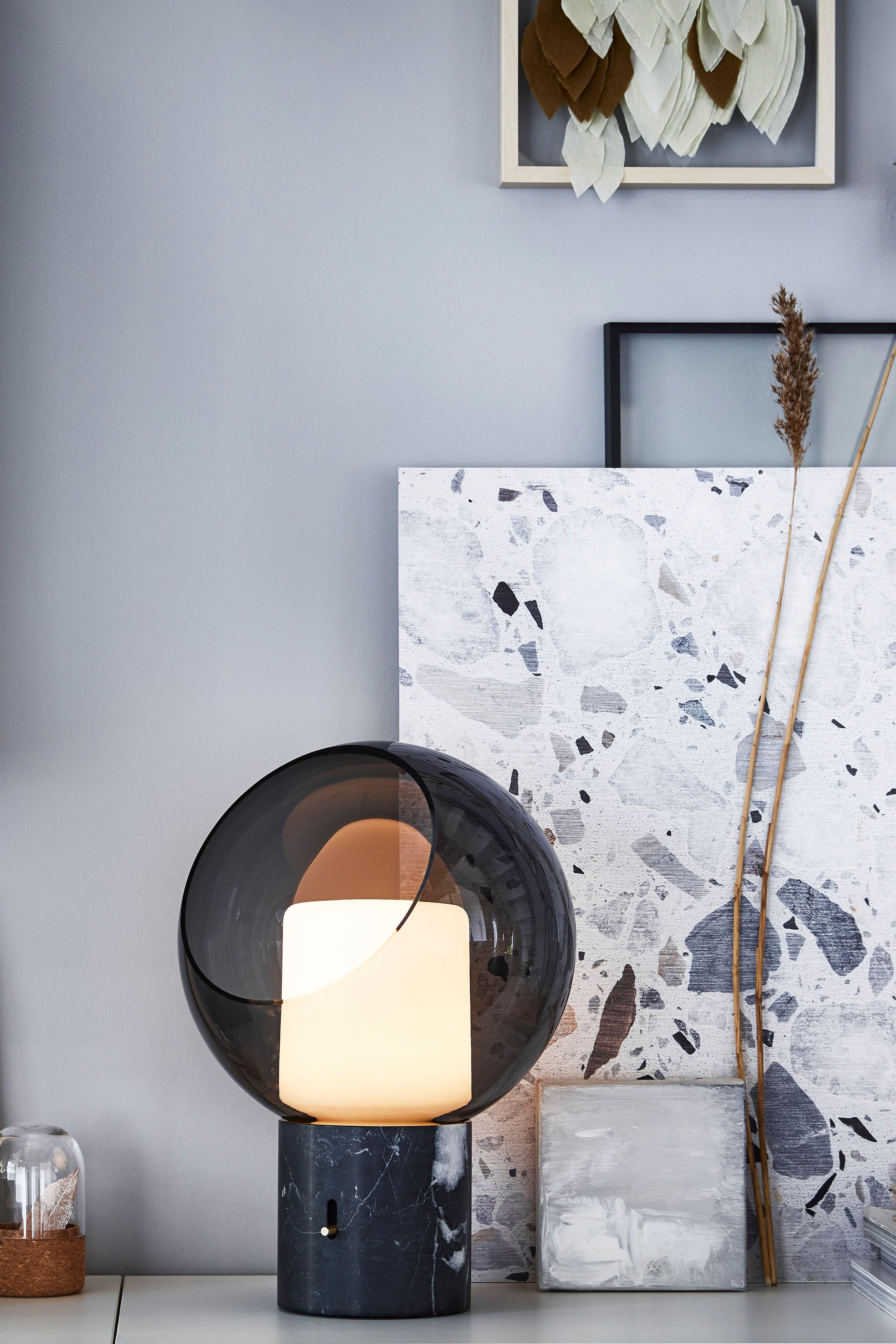 Evedal Tischleuchte Marmor Grau Rund Grau Rund Ikea