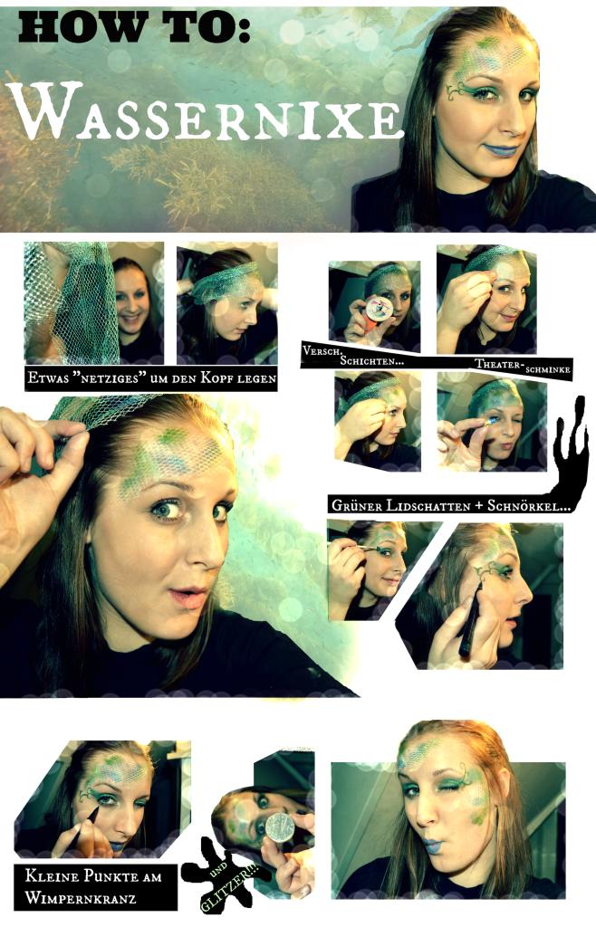 Super einfaches Wassernixen-Make Up für Karneval oder Halloween. Eignet sich auch gut für Meerjungfrauen!