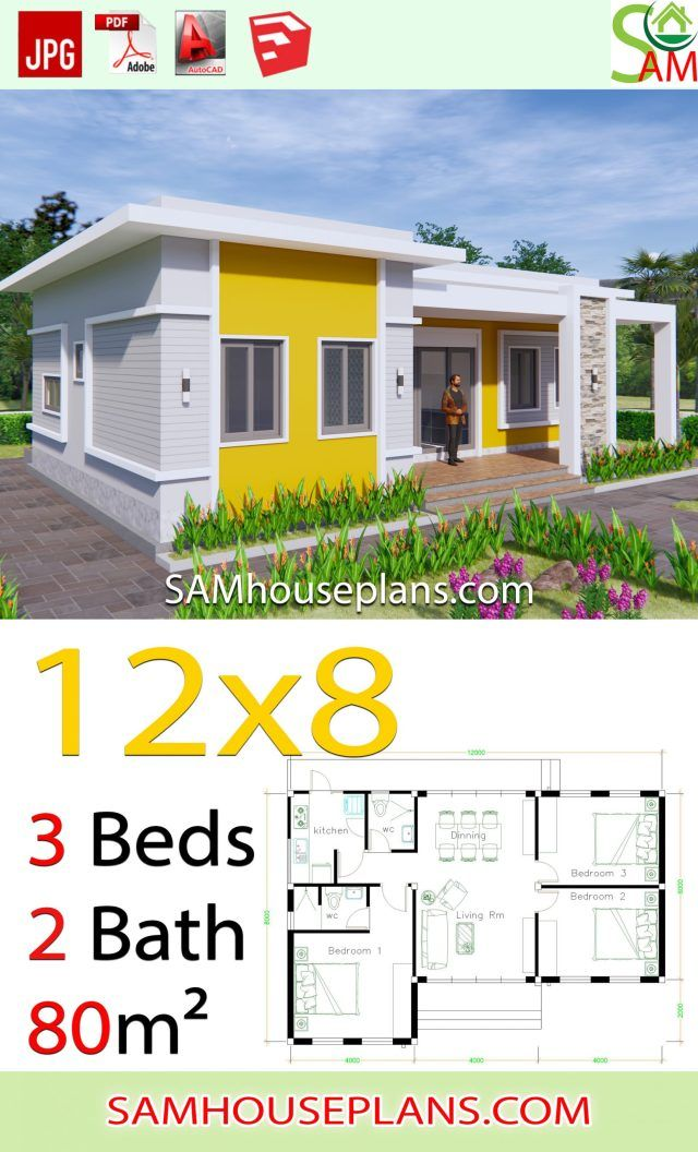 House Plans 12x8 With 3 Bedrooms Terrace Roof Sam House Plans House Plans Modern Style House Plans Bungalow House Design