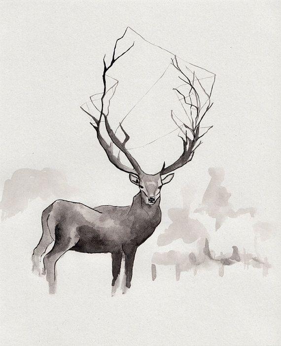 LOVE THIS, plus it's an original...Deer in the fog/ ORIGINAL ink illustration/ by Marikohandemade, $107.00