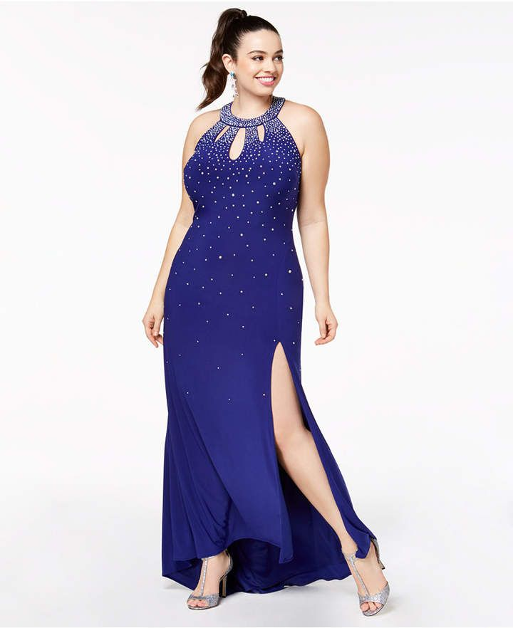 4961197532fc Morgan & Company Trendy Plus Size Embellished Cutout Halter Gown ...