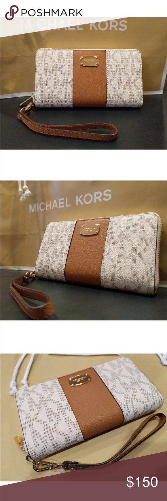 6ddd2f1846cadd Michael kors center stripe wallet/ph case vanilla NWT MICHAEL MICHAEL KORS  JET SET CENTER