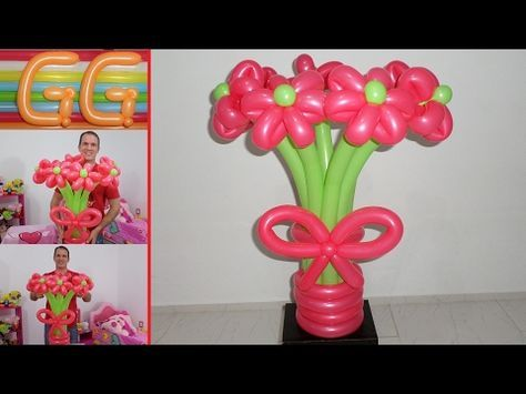 como hacer flores con globos largos globoflexia fcil flores como hacer un florero con globos - Como Hacer Flores Con Globos