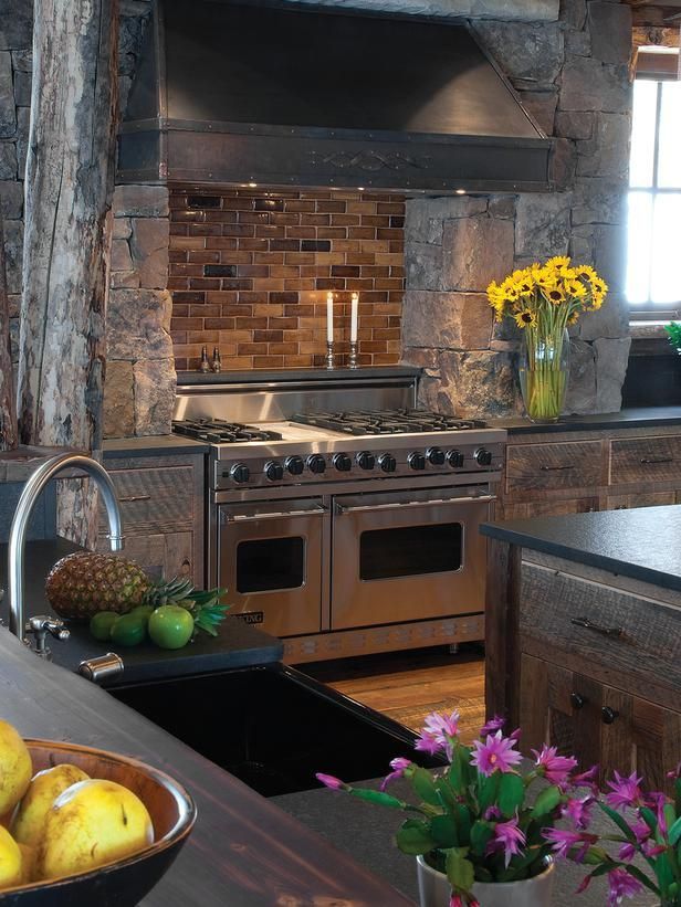 Gourmet Viking Oven With Brick Backsplash and Stone Surround : Designers' Portfolio : HGTV - Home & Garden Television