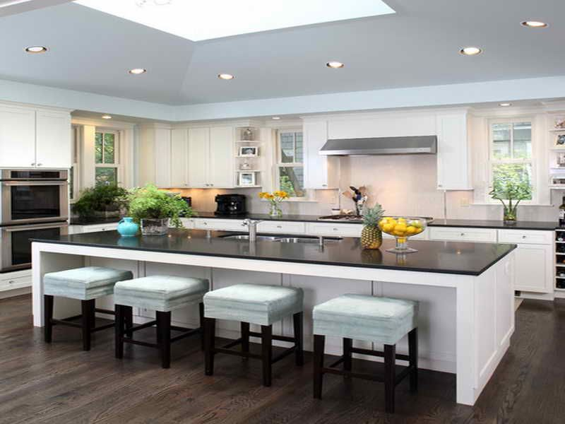 Contemporary Kitchen White Kitchen Island With Seating Novocom Top
