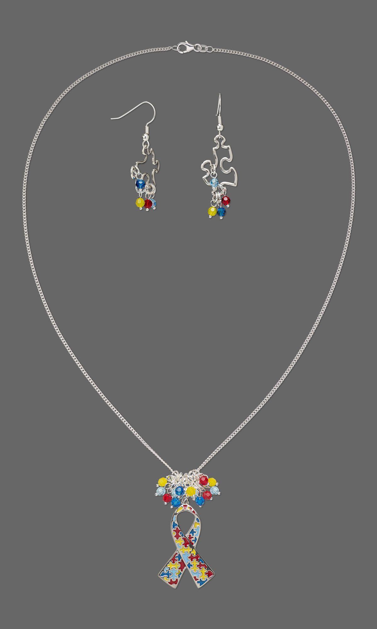 Jewelry design singlestrand necklace and earring set with silver