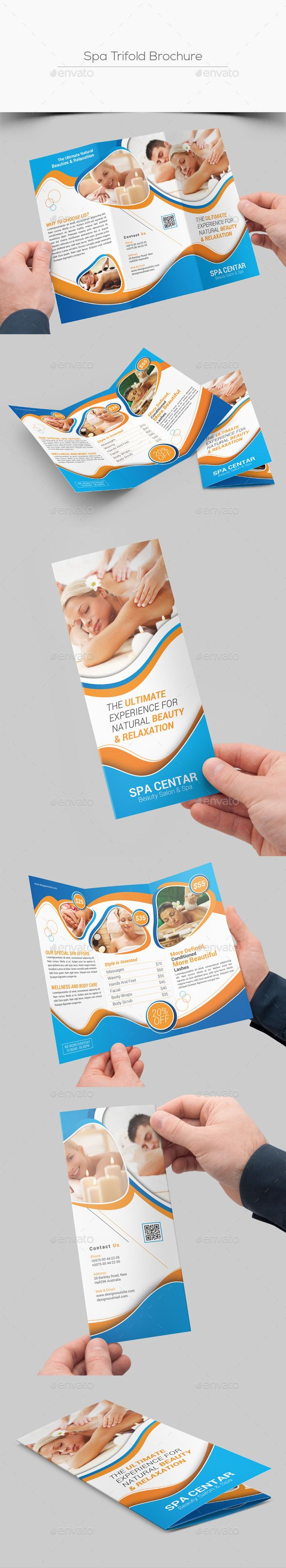 spa tri fold brochure template psd