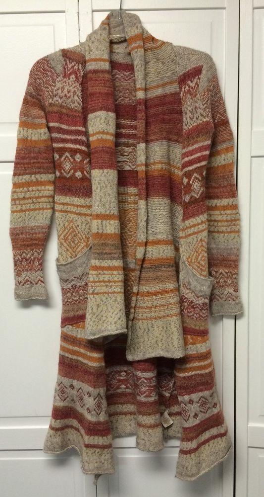 Free People Long Open Cardigan Sweater Coat S Hi Low Anthropologie #FreePeople #Sweatercoat
