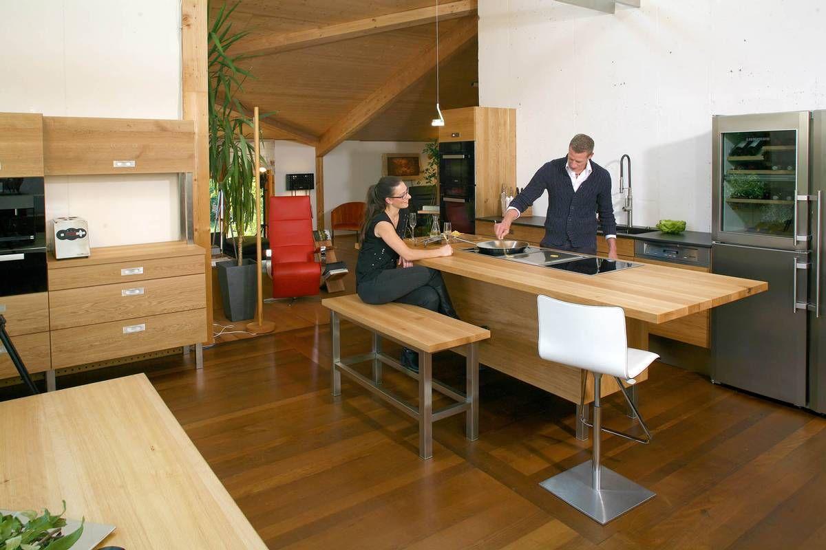 Die Möbelmacher moderna kredenca levo nosilci inox massivholzküchen der