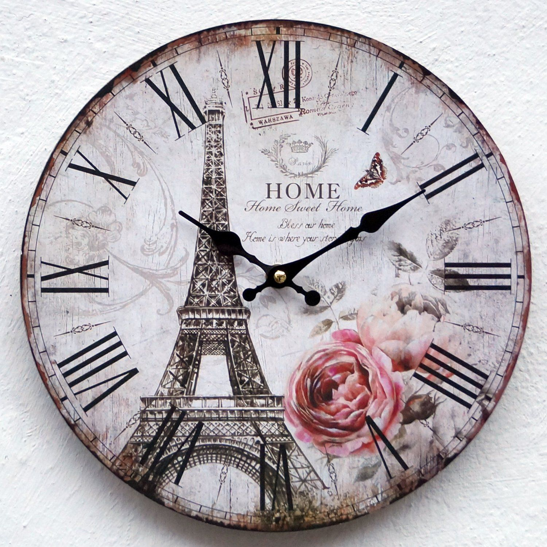 Uhr Wanduhr Küchenuhr weiß schwarz antik Wand Küche Quarzuhr ...