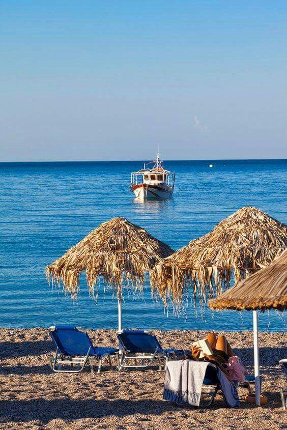 The Megali Paralia Beach In Lindos, Rhodes Island