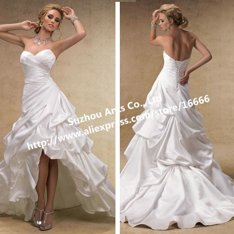 Suosikki 2017 High Low Short Front Long Back Beach Wedding: Cheap Short Wedding Dresses