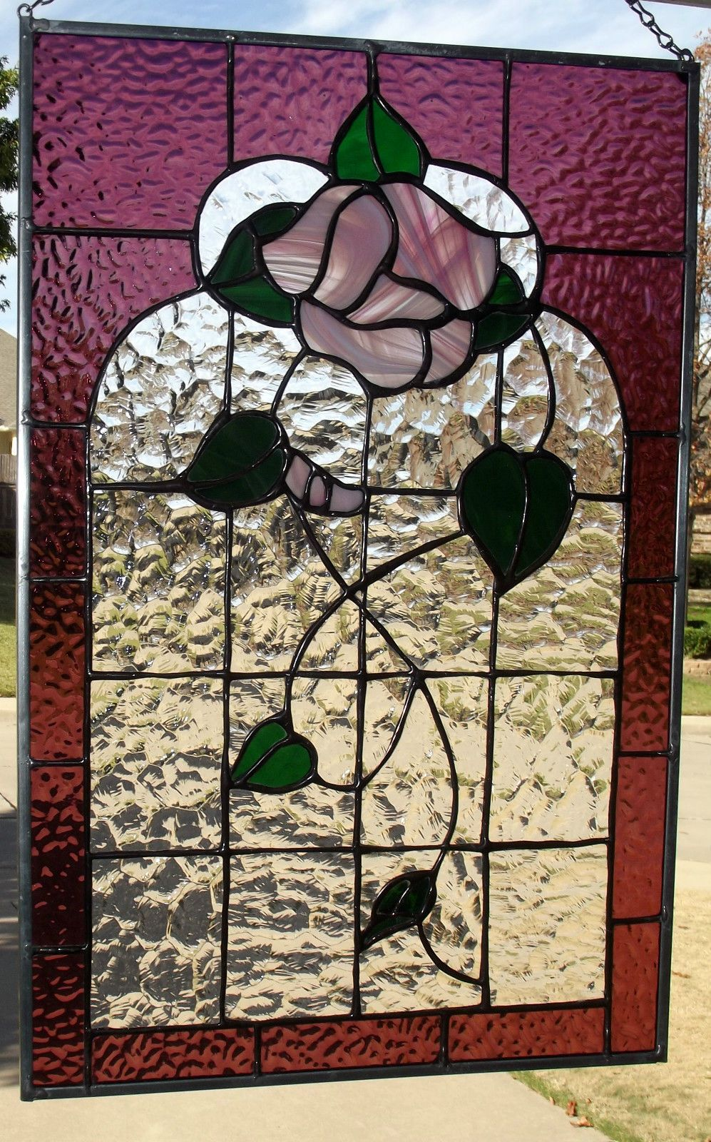 Victorian Rose Stained Glass Window Panel Ebay Stained