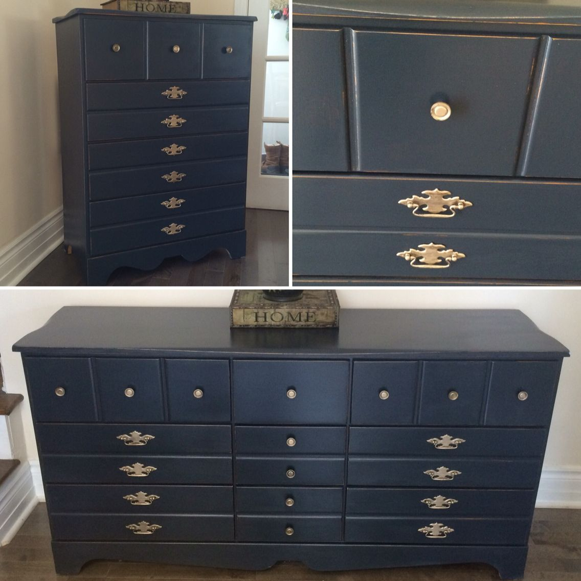 Available /French provincial bedroom set , midnight blue