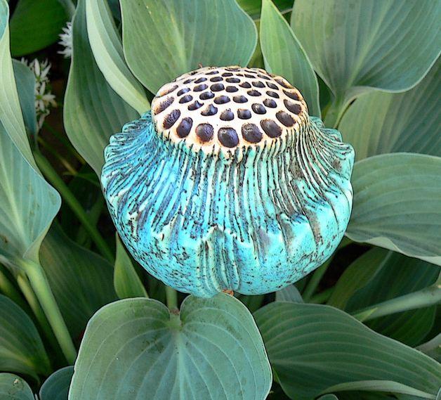 Gartenstecker Turkise Samenkapsel Keramik Blumen Gartenkeramik Organische Keramik