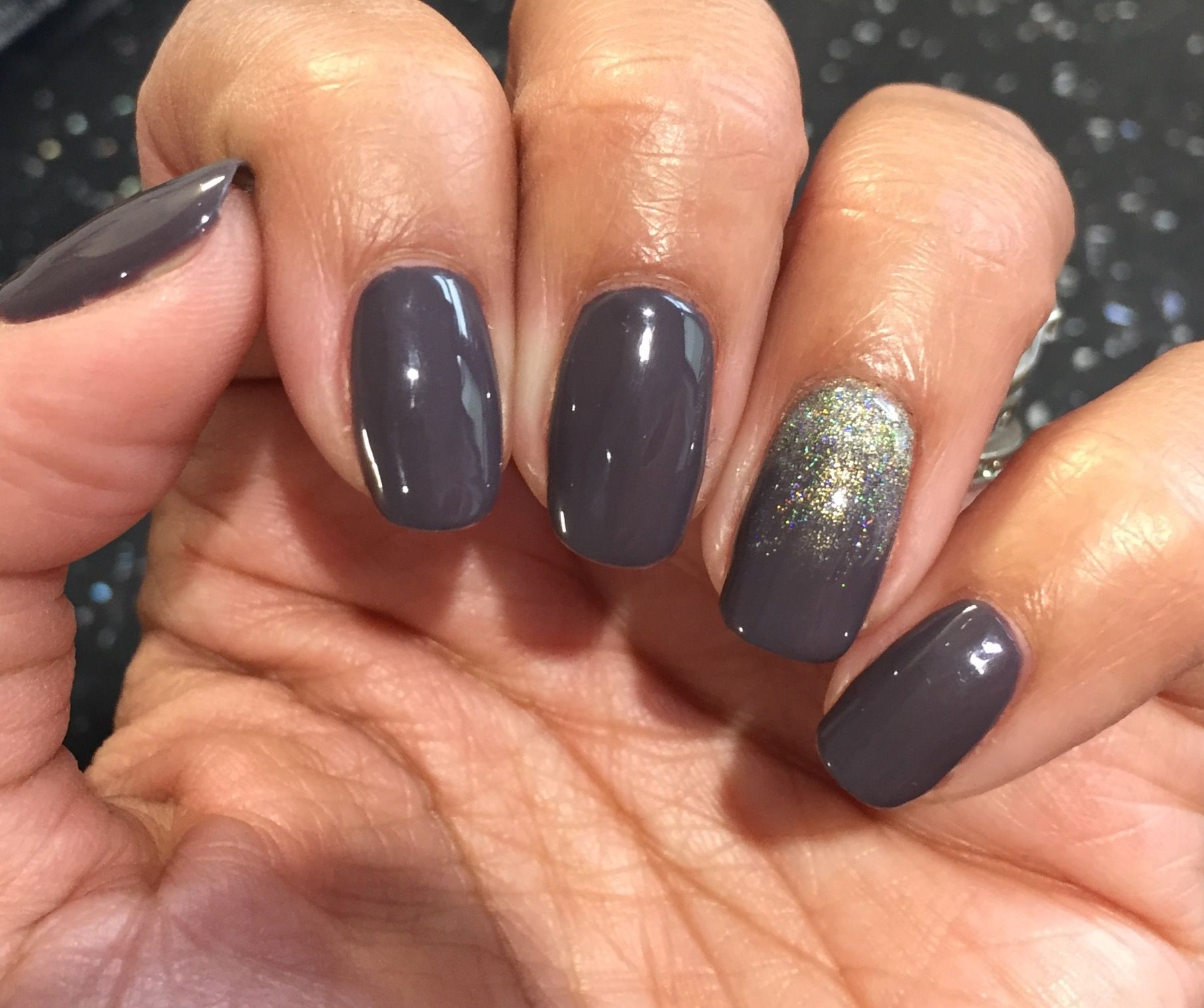Bluesky WF01 Dark Taupe with Holo Gold glitter fade | nails ...