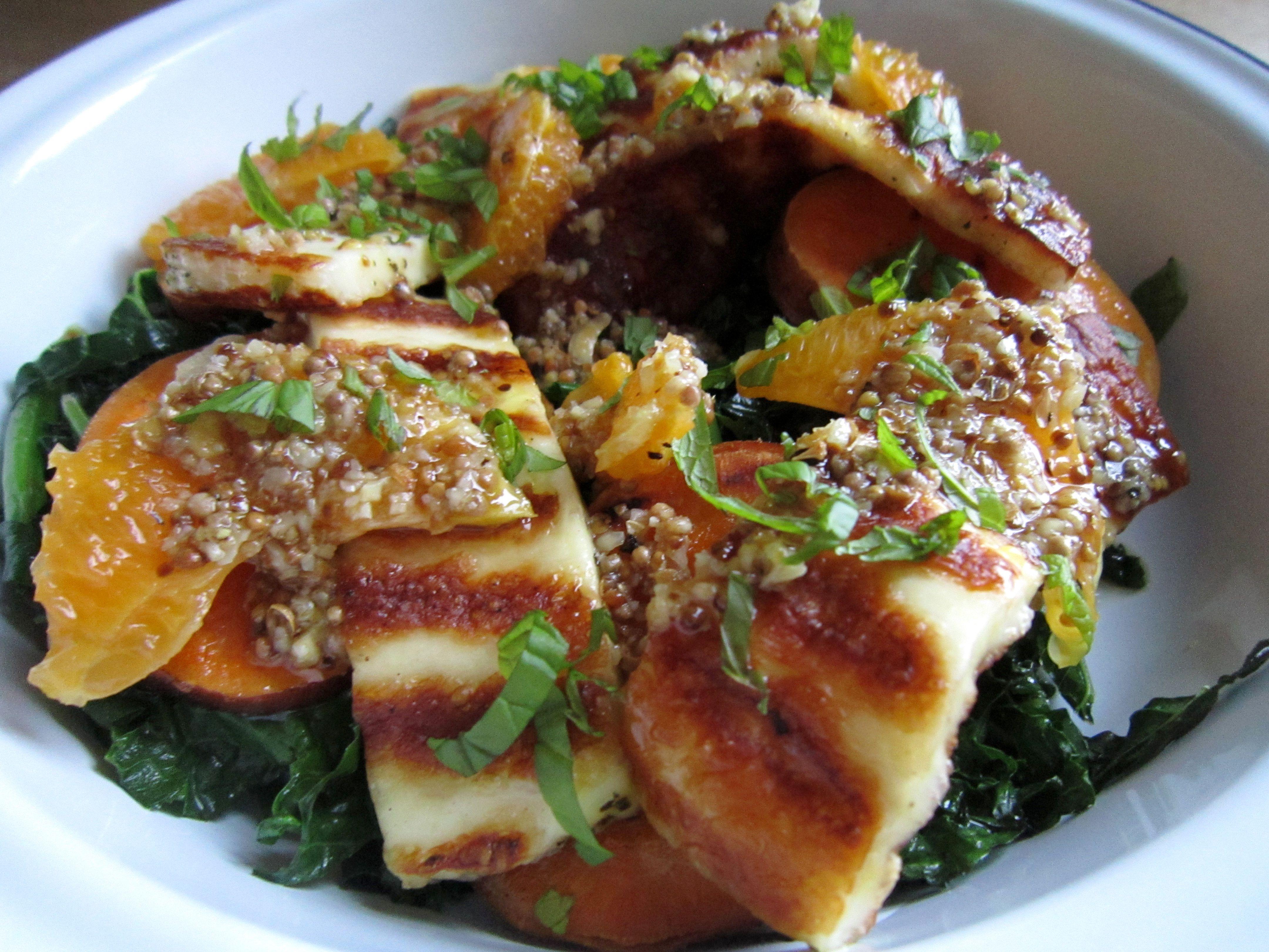 Halloumi, sweet potato and kale salad