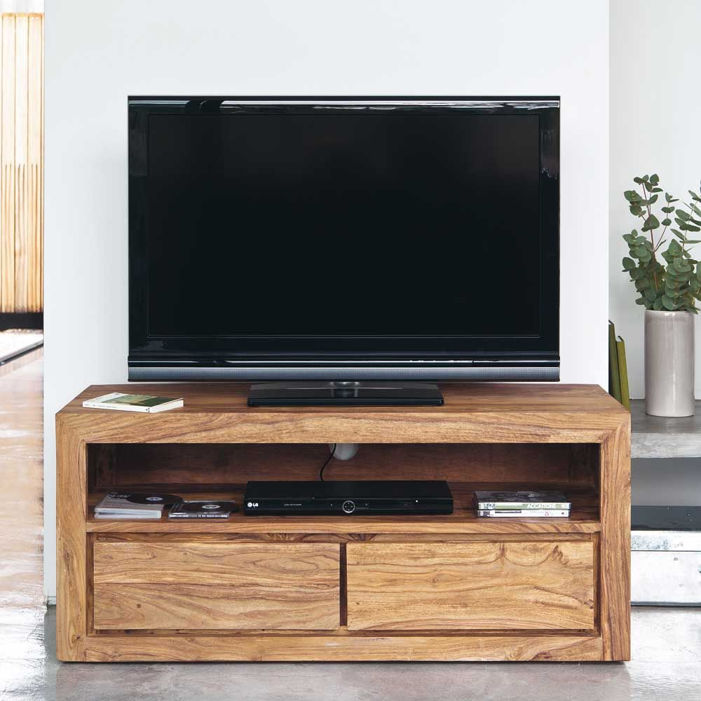 meuble tv 2 tiroirs en sheesham massif meubles en bois. Black Bedroom Furniture Sets. Home Design Ideas
