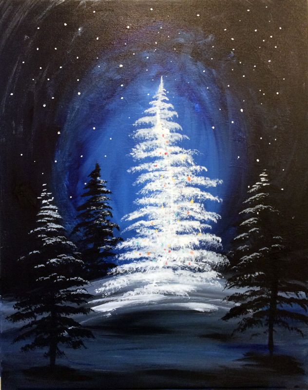 Paint Sip In Downtown Fargo West Fargo Creatively Uncorked Creatively Uncorked Christmas Tree Painting Christmas Paintings Winter Painting