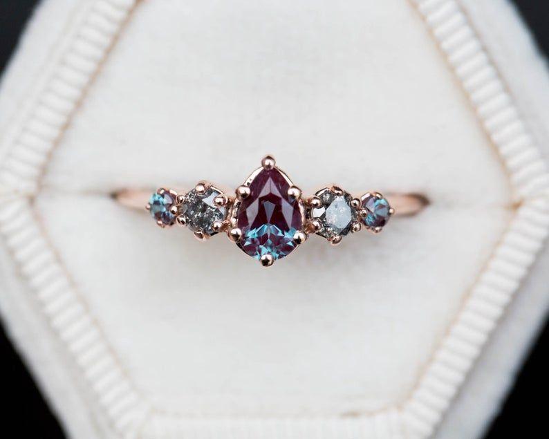 Alexandrit grau Diamant-Cluster-Ring fünf Stein-Ring | Etsy