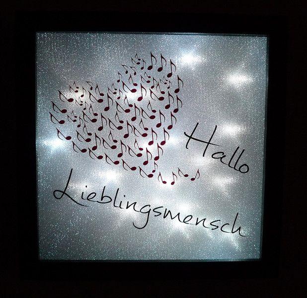 """Deko-Objekte - Lichtbild """"Hallo Lieblingsmensch"""" 25x25 - ein Designerstück von manufakture bei DaWanda"""