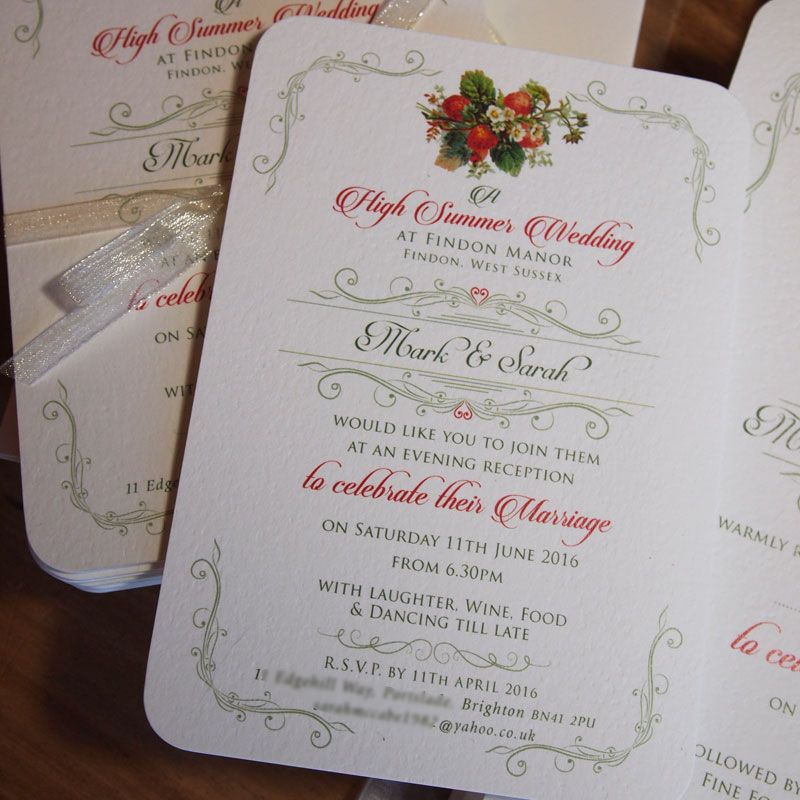 Vintage Tea Party Wedding Evening Invitation / Strawberry Wedding ...