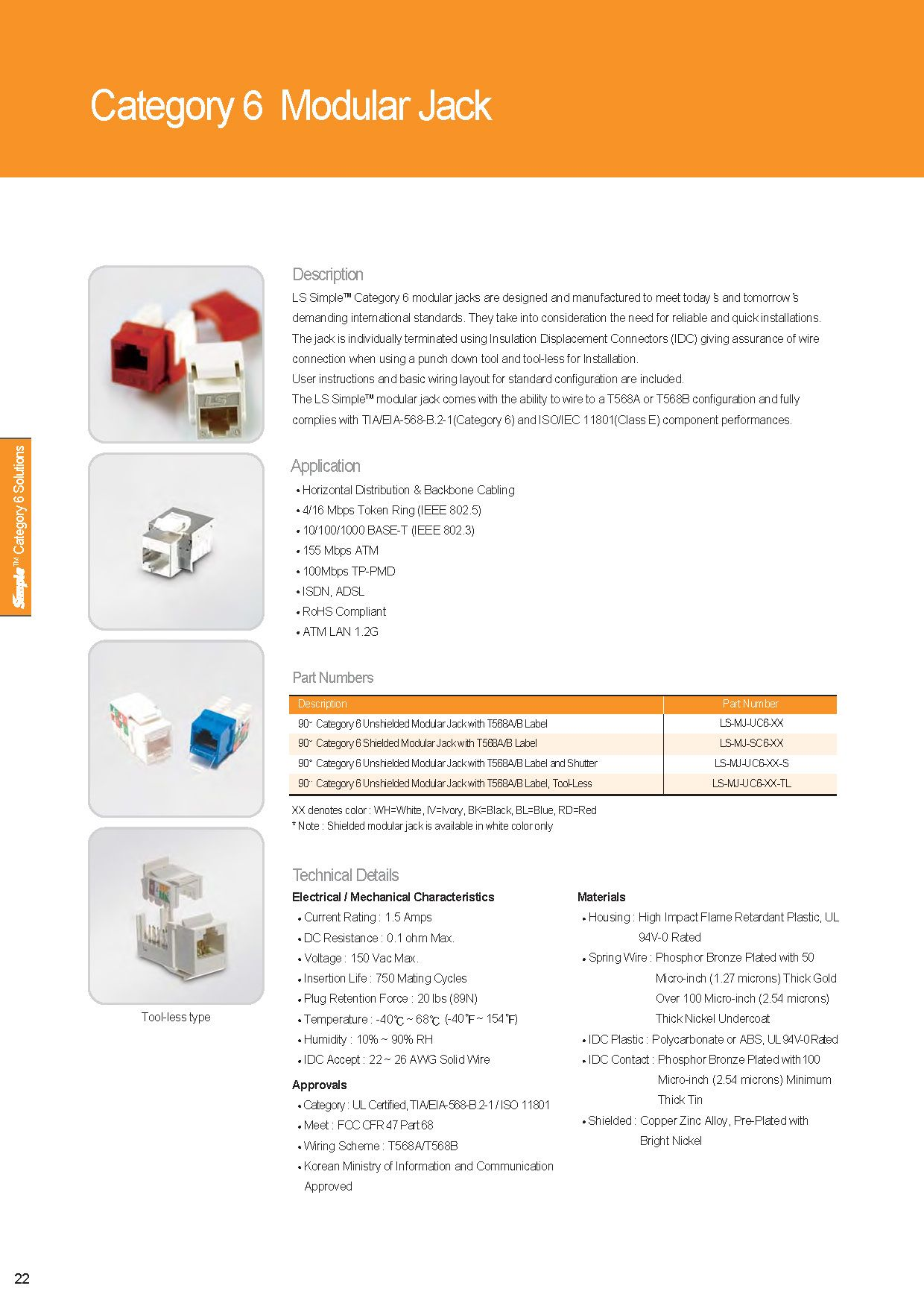 LS Cable & System Modular Jack Cat 6 specsheet