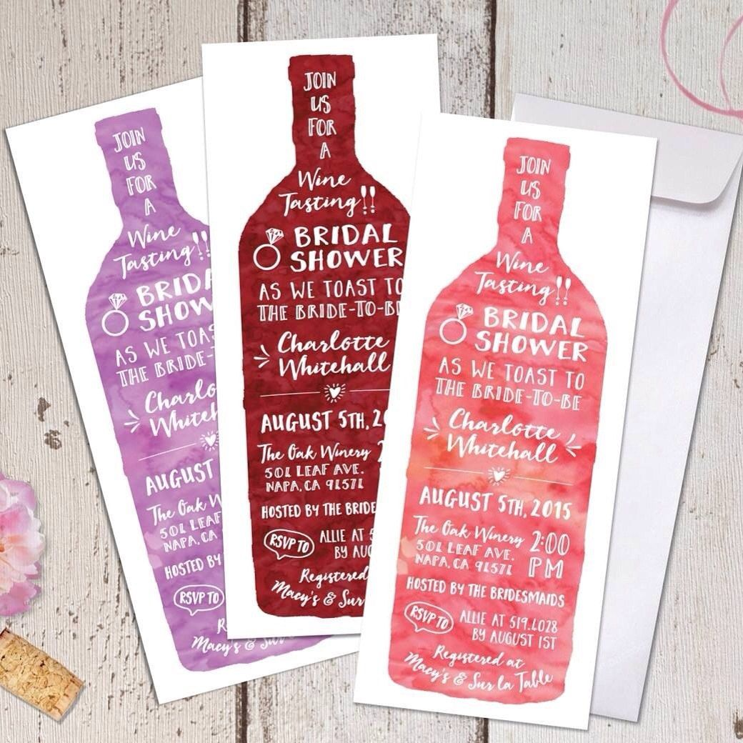 Wine Tasting Theme Bridal Shower Invitations - Modern Watercolor ...
